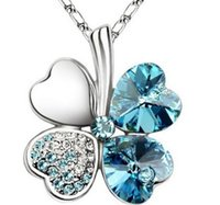Wholesale Multi color Ladies Necklaces Jewel Pendants Four Leaf Clover Long Neckless Flower Crystal Jewelry Girls Women Birthday Gift I2158