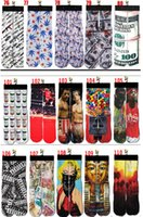 Men basketball candy - Fashion D Printed US Dollars Basketball Skate Sports Socks Summer Style Towel Tottom Candy Color Happy Socks Men s Brand Sock