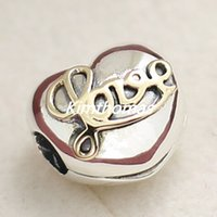 Wholesale 2015 Autum Sterling Silver K Real Gold Heart of Love Clip Charm Bead with Cz Fits European Pandora Style Jewelry Bracelets Necklaces