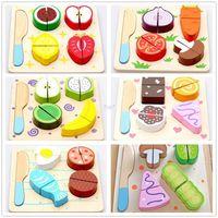 Wholesale Christmas gifts Wooden Dessert Fruit Vegetable Food Kitchen Cutting Toy for Baby Kids Children Cozinha Brinquedo Kitchen Accessories Play