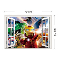 Wholesale 3D Window View The Lego Avengers Wall Art Decal Sticker Kids Boys Girls Room Decoration Wallpaper Mural Decor Home Decal Sticker