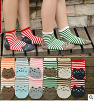 Wholesale Cartoon Women Socks Fashion Korean Stirpe Cat Cotton Adult Socks Cute interest Striped Teenager knee socks Cheap Socks W026