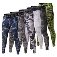 Wholesale HOT men sport fitness gym camouflage compression pants Quick Dry tights men running soccer training bodybuilding cycling pants trousers