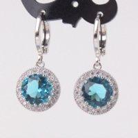 antique aquamarine earrings - Excellent Hot Selling Antique K White Gold Plated Rhinestone Earrings Aquamarine Crystal Dangle Earing E040e