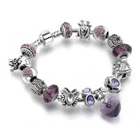 Cheap Hot Sell European Style 925 Silver Crystal Charm Bracelet for Women With Purple Murano Glass Beads DIY Jewelry SL-24