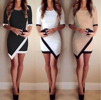air spells - women fashion sexy package hip irregular spell color sleeve dress three colors S XL code Air Transport