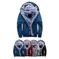 al por mayor invierno forro de la chaqueta-S5Q hombres invierno Cardigan Sweater lana forro sudadera con capucha de punto chaqueta abrigo Casual AAAEIN