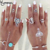 Wholesale Fashion Jewelry New Vintage Silver Plated Ring Set with turquoise elephant lucky numbers snake geometric rings anel de dedo