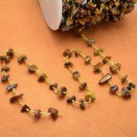 Precio de Chip stone bracelet-16 pies de alambre chapado en oro envuelto Freeform tigre de ojos de tigre nugget chips cadena de piedras preciosas collar de cuentas Collar de cadena de pulsera