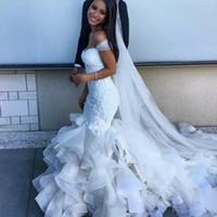 Wholesale Ruffled Chapel Mermaid Wedding Dresses Sheer Straps Sweetheart Bodice Corset Back Lace Arabic African Wedding Dresses Plus Size
