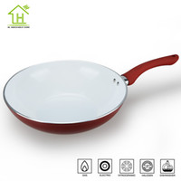 aluminium wok - 28 cm Aluminium Round non stick Chinese woks Eco friendly healthy cooking tools Panelas Cream ceramic with flat bottom