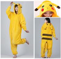Wholesale Hot Pikachu Unisex Adult Flannel Pajamas Adults Cosplay Cartoon Cute Animal Onesies Sleepwear Suit Nightclothes Pikachu