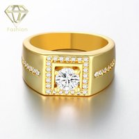 Wholesale Mens Wedding Band K Rose White Gold Plated Male Ring Square Shaped with Side Stones CZ Diamond Engagement Ring