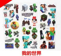 Wholesale Minecraft Pony big hero Frozen Cartoon Stickers Children Kids toys Paster Wall Book Phone Bubble Posted Christmas Decoration Decals cm