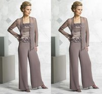Cheap Summer Spring Mother Of The Bride Pant Suits 2015 Strapless Embroidery Chiffon Long Sleeve Summer Mother Pant Suits Custom Made Plus Size
