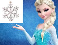 Colgantes Collar Brillante rhinestone del copo de nieve de la cadena de joyería collar largo 2015 de moda de lujo Joyería congelados Elsa Niños Niños
