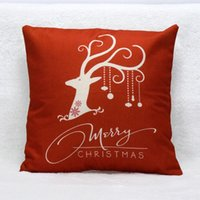 Cheap Wholesale-High Quality 2015 Lucury Brand Vintage Christmas Deer Bed Home Festival Pillow Case Cover Decorative Free Ship&Wholesale