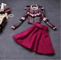 Wholesale Rose Elegant Women Office Sets Grid Tops Pleated Skirt with Belt Woolen Causal Suits For Big Children Lady Ladies Clothing Girls K2681