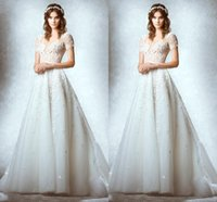 character appliques - 2015 New High Necked Short Sleeved Wedding Dresses Bridal Gowns Character Applique Lace Vintage Wedding Dress