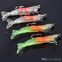 sea fishing tackle - 40Pcs cm g Artificial Fishing Lure Sea Bionic Shrimp Prawn Soft Bait Fishing Tackle Noctilucent Luminous Lifelike with Hook mix color