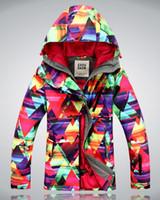 Wholesale New Gsou Brand womens geometric figure Winter waterproof snowboard jacket ladies ski jacket snow parka skiing suits