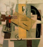 bass paintings - Clarinet bottle of bass newspaper ace of clubs by Pablo Picasso paintings Handmade Oil painting High quality