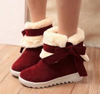 Wholesale Fashion Women Warm Winter Shoes Bowknot Ankle Boots Platform Round Toe Snow Boots colors platform boots big size