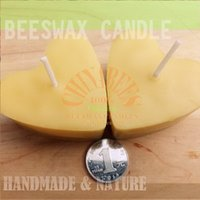 beeswax candle wick - 2pcs Handmade All Natural Beeswax Candles heart shaped Weddings Candles Cotton Wicks