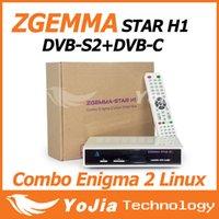 Wholesale 1pcs Original Zgemma star H1 HD Satllite TV Receiver with DVB S2 DVB C Two Tuner Combo Enigma2 Linux Smart Box Zgemma star H1 Twin Tuner