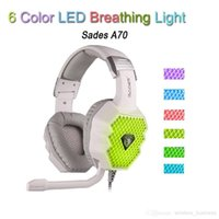 Wholesale SADES A70 Breathing Lamp Computer Game Headset Headphones Wore a type USB with Sound Card