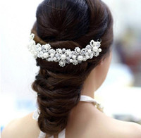 Wholesale Long bridal hair comb accessories for wedding hot bridal white and red full rhinestone pearls hair piece pin clip accessories for head