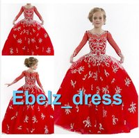 Cheap Sparkly Red Flower Girl Dress Organza Scoop Sheer Long Sleeves Full Beaded Pageant Gown Floor-Length Party Skirt#FLT011219