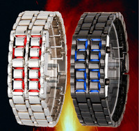 gift items - LED watch Fashion Men Women Lava Iron Samurai Metal LED Faceless Bracelet Watch Wristwatch Stainless Steel Novelty Item for Gift