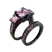 pink wedding ring - Black Gold Filled Rings Turquoise O Jewelry Tungsten Rings Pink Crystal Couple Wedding Jewelry KT Finger Rings For Women