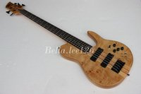 Wholesale OEM guitar factory custom string butterfly logo electric bass guitar deluxe maple neck through body Ash alder body