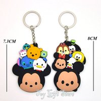 7.3-8CM Cell Phone Keychain Stainless Steel Free Shipping 2 Styles Mickey Minnie Mouse Stitch Goofy Dog Daisy Keychain Action Figures Toys Christmas Gift
