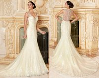 Wholesale Gorgeous V Neck Wedding Dresses Mermaid Lace Appliqued Beaded Sheer Neck Covered Button Charming Bridal Gowns New Design Garden Gown WZ
