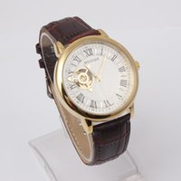 Wholesale WEIGUAN Fashion generous three dimensional hollow out the dial High quality Leather mechanical watches for mens Luxury wristwatch