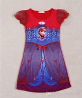 Wholesale Frozen Selling New Dress lace Lovely Girls Clothing Shape Gauze Children Short sleeve Dress kids Clothing Color