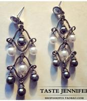 Wholesale wonderful natrual white black pearl drops lady s earings CM jennifer