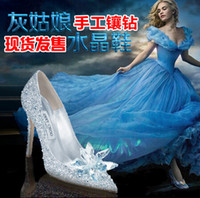 Wholesale Cinderella s Glass Slipper Pointed High heeled Shoes Heel Bride Shoes Diamond Wedding Shoes Bridesmaid Women s Shoes