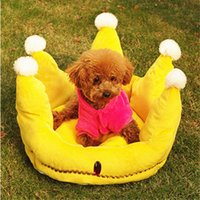 Wholesale 47 cm New sale dog bed crown shape pets bed quality short floss made dog nest supply pets accessories
