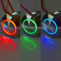Wholesale Metal Stainless Steel Screw Terminal RGB Indicator V V v Red Blue Green Three color Angel eye illuminated Led Signal Light