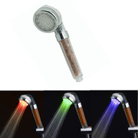 anion light - LED Shower SPA Anion Shower Head Temperature Sensor Shower Heads Bathroom Shower Heads colors changed auto show head light effect choice