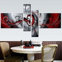 Wholesale 4 Piece High Quality Hand Painted Black Light Grey Red Abstract Oil Canvas Painting Modern Wall Art Home Decoration No Frame