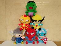 Los Vengadores 2 Super Héroes Juguetes de peluche Thor Wolverine Spiderman Capitán América Iron Man Hulk Plush Muñecas Kids Gift 18cm