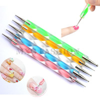 Wholesale 5 set ways Steel Dotting Pen Colorful Nail Art Decoration Tool Marbleizing Pen