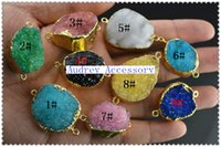 Wholesale Two loops Mixed Bright Color Drusy Crystal Connectors Flat Oval Stone Pendants With Gold Plated Edge of natural agate Stone
