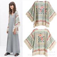 Cheap 2015 New Fashion Vintage Loose Coat for Women Spring Autumn Clothes European Style Tassel Nine Points Sleeve Printed Shawl Kimono Coat