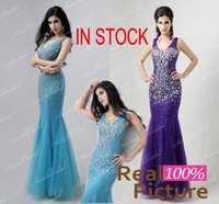 designer plus size - 2015 Cheap Party Prom Dresses Pink Purple Blue Beaded Formal Evening Gowns with Backless Mermaid V Neck Pleated Pageant Dresses for Women